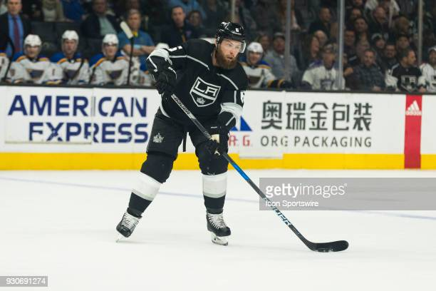 Los Angeles Kings defenseman Jake Muzzin during the NHL regular season game against the St Louis Blues on March 10 at Staples Center in Los Angeles CA