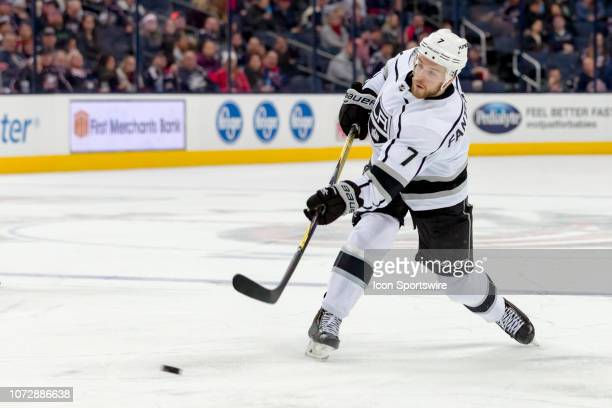 Los Angeles Kings defenseman Oscar Fantenberg attempts a shot on goal in a game between the Columbus Blue Jackets and the Los Angeles Kings on...