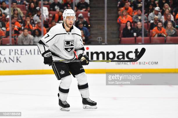 Los Angeles Kings defenseman Oscar Fantenberg looks on during a NHL preseason game between the Los Angeles Kings and the Anaheim Ducks played on...
