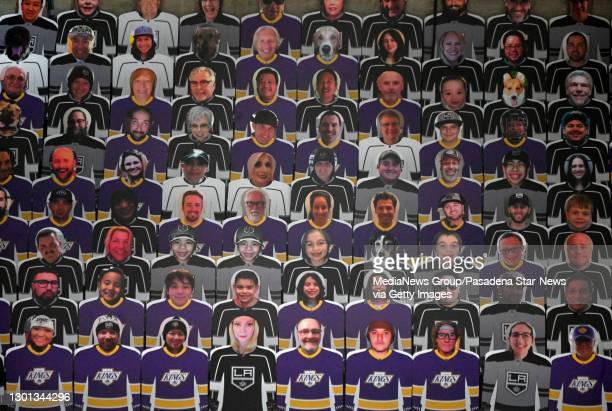 Los Angeles Kings fan photo cutouts during the first period of a NHL hockey game between the Los Angeles Kings and the San Jose Sharks at Staples...