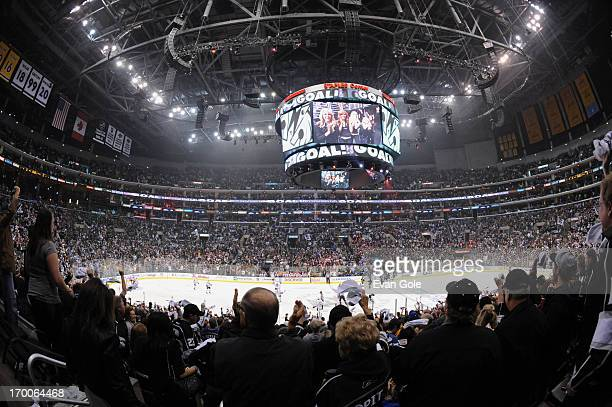 Los Angeles Kings fans celebrate a goal against the Chicago Blackhawks in Game Four of the Western Conference Final during the 2013 NHL Stanley Cup...