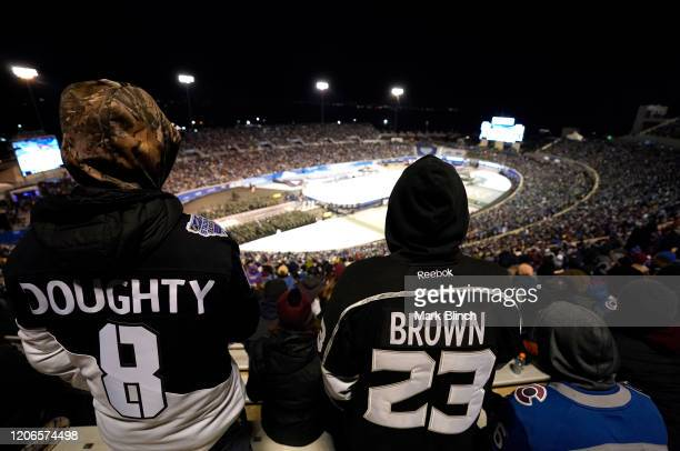 Los Angeles Kings fans watch the 2020 NHL Stadium Series game between the Los Angeles Kings and the Colorado Avalanche from the upper seats during...