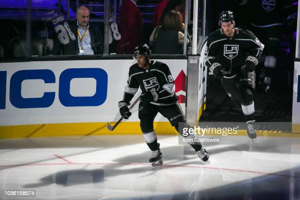 Los Angeles Kings forward Akil Thomas skates onto the ice prior to the start of a preseason game between the Arizona Coyotes and Los Angeles Kings on...