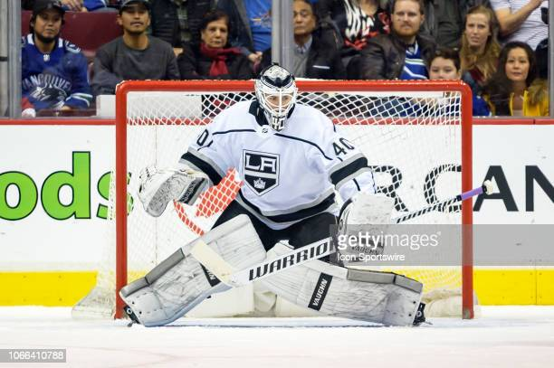 Los Angeles Kings Goalie Cal Petersen makes a save during their NHL game against the Vancouver Canucks at Rogers Arena on November 27 2018 in...