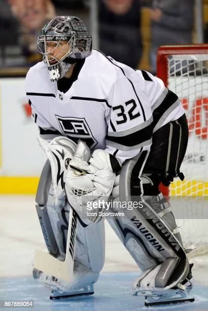 Los Angeles Kings goalie Jonathan Quick before a game between the Boston Bruins and the Los Angeles Kings on October 28 at TD Garden in Boston...