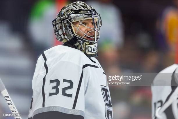Los Angeles Kings Goalie Jonathan Quick during warm-up before National Hockey League action between the Los Angeles Kings and Ottawa Senators on...