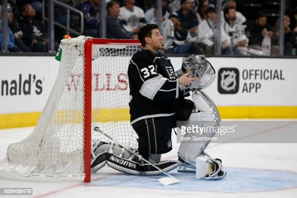 Los Angeles Kings goalie Jonathan Quick gets ready for the second period during the game against the Calgary Flames on March 26 2018 at the Staples...