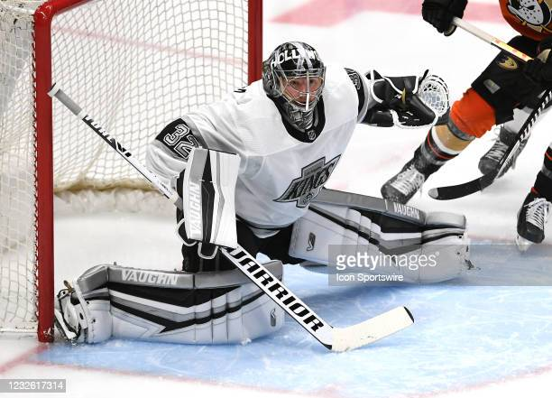 Los Angeles Kings goalie Jonathan Quick in goal during a game against the Anaheim Ducks played on April 30, 2021 at the Honda Center in Anaheim, CA.