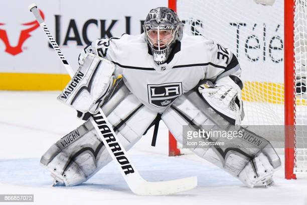 Los Angeles Kings goalie Jonathan Quick looks in front of him during the Los Angeles Kings versus the Montreal Canadiens game on October 26 at Bell...