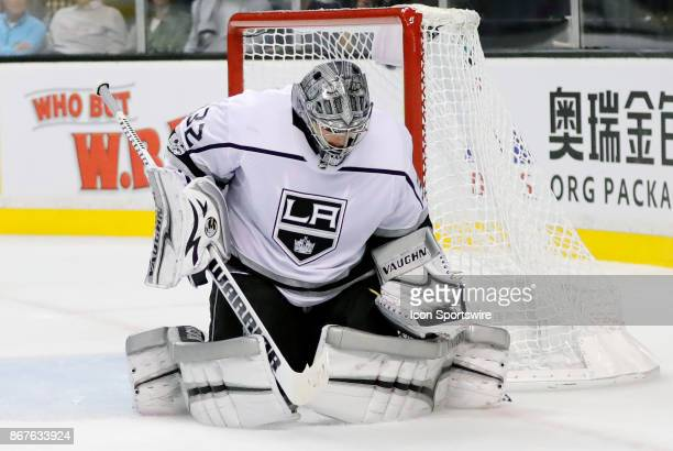 Los Angeles Kings goalie Jonathan Quick makes a glove save during a game between the Boston Bruins and the Los Angeles Kings on October 28 at TD...