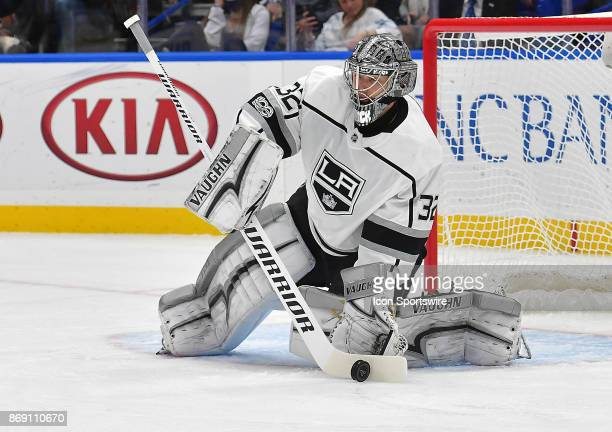 Los Angeles Kings goalie Jonathan Quick makes a save during a National Hockey League game between the Los Angeles Kings and the St Louis Blues on...