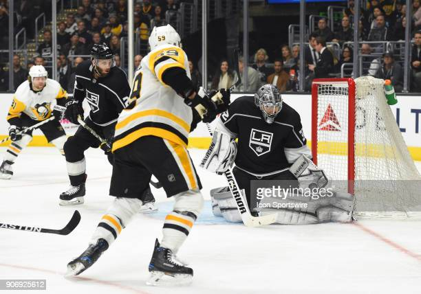 Los Angeles Kings Goalie Jonathan Quick makes a save on a shot by Pittsburgh Penguins Center Jake Guentzel during an NHL game between the Pittsburgh...