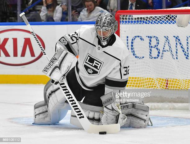 Los Angeles Kings goalie Jonathan Quick stops a shot in the first period during a National Hockey League game between the Los Angeles Kings and the...