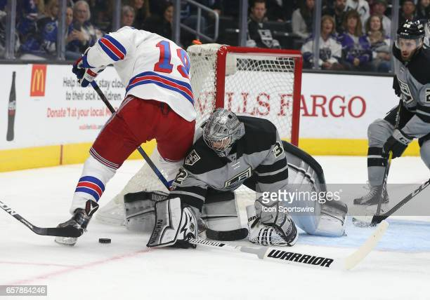 Los Angeles Kings Goalie Jonathan Quick stops New York Rangers Right Wing Jesper Fast during the game on March 25 at Staples Center in Los Angeles CA