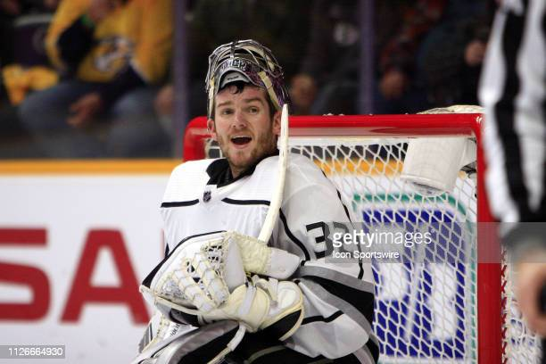 Los Angeles Kings goalie Jonathan Quick talks with a linesman during the NHL game between the Nashville Predators and Los Angeles Kings held on...
