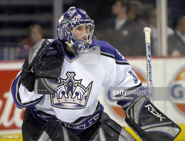 Los Angeles Kings goalie Mathieu Garon in a game against the Buffalo Sabres at HSBC Arena in Buffalo New York on January 14 2006 Buffalo won the game...