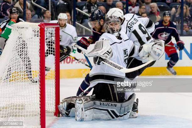 Los Angeles Kings goaltender Jonathan Quick deflects a puck in a game between the Columbus Blue Jackets and the Los Angeles Kings on December 13 2018...
