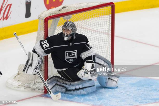 Los Angeles Kings goaltender Jonathan Quick during an NHL regular season game against the Dallas Stars on Saturday April 7 2018 at Staples Center in...