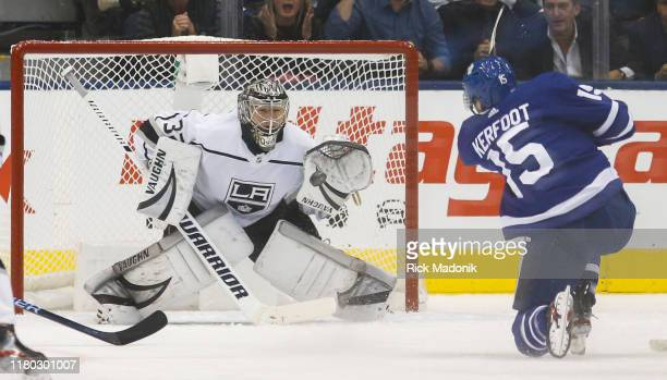 Los Angeles Kings goaltender Jonathan Quick is fooled by the shot of Toronto Maple Leafs center Alexander Kerfoot who scores. Toronto Maple Leafs vs...