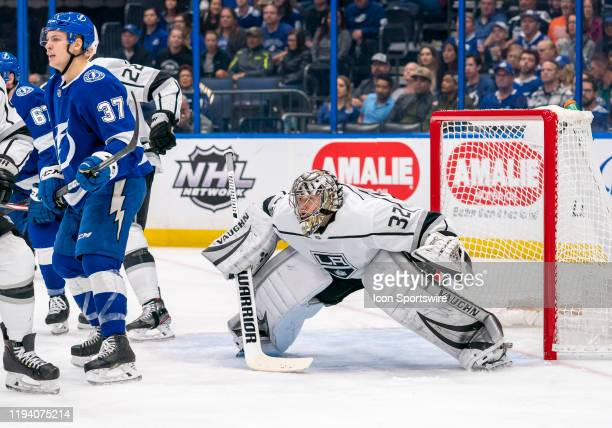Los Angeles Kings goaltender Jonathan Quick looks for the shoot during the NHL Hockey match between the Tampa Bay Lightning and LA Kings on _January...