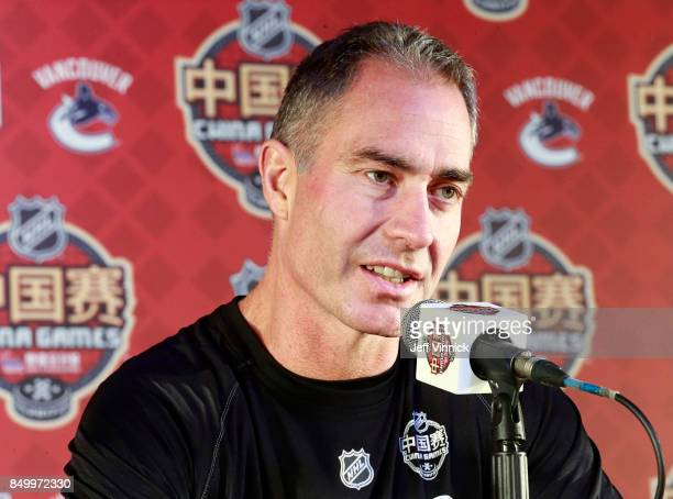 Los Angeles Kings head coach John Stevens answers questions during a press conference after their practice at MercedesBenz Arena September 20 2017 in...