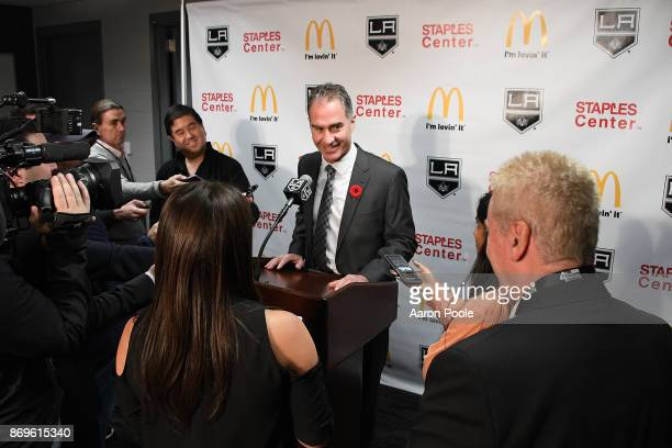 Los Angeles Kings Head Coach John Stevens speaks to the media after a game against the Toronto Maple Leafs at STAPLES Center on November 2 2017 in...