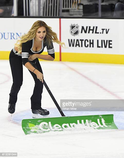Los Angeles Kings ice girl cleans the ice during the team's preseason game against the Dallas Stars at TMobile Arena on October 7 2016 in Las Vegas...