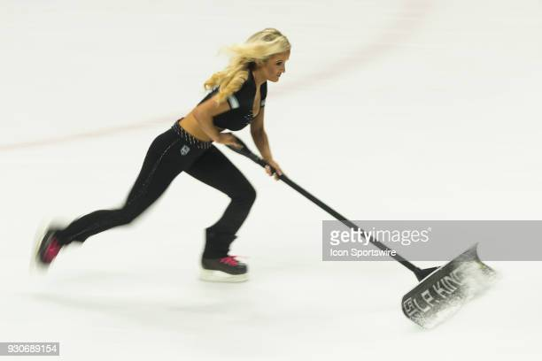 Los Angeles Kings ice girl during the NHL regular season game against the St Louis Blues on March 10 at Staples Center in Los Angeles CA