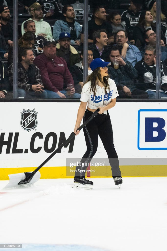 timeless design c09a0 4e421 Los Angeles Kings ice girl wearing Los Angeles Dodgers ...