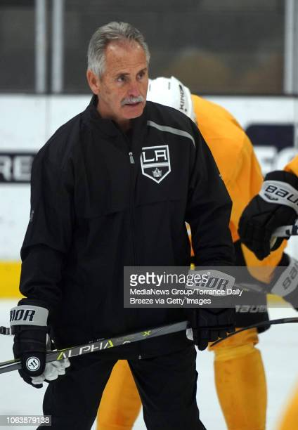 Los Angeles Kings interim head coach Willie Desjardins has his first practice with players at their training facility in El Segundo on Monday Nov 5...
