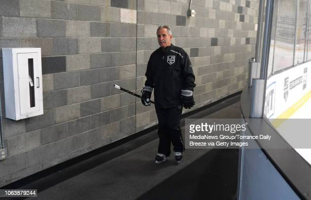 Los Angeles Kings interim head coach Willie Desjardins leaves his first practice with players at their training facility in El Segundo on Monday Nov...