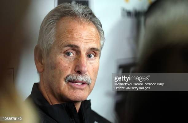 Los Angeles Kings interim head coach Willie Desjardins talks about his first practice with players at their training facility in El Segundo on Monday...