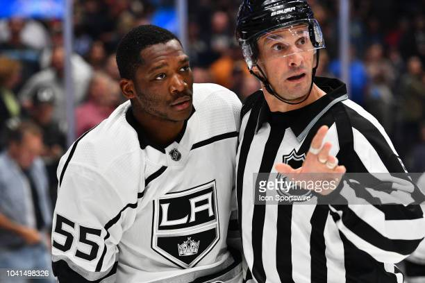 Los Angeles Kings left wing Bokondji Imama looks on with the referee during a NHL preseason game between the Los Angeles Kings and the Anaheim Ducks...