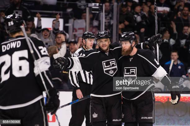 Los Angeles Kings Left Wing Marian Gaborik and Los Angeles Kings Defenceman Jake Muzzin celebrate after a goal during the game between the Winnipeg...