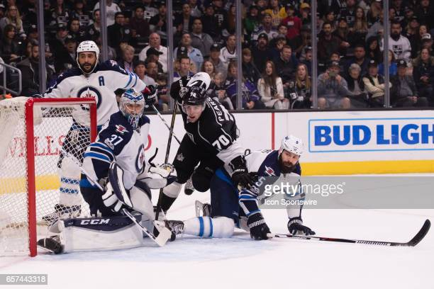Los Angeles Kings Left Wing Tanner Pearson try to get into position in front of the net during the game between the Winnipeg Jets and the LA Kings on...