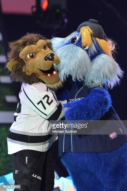 Los Angeles Kings mascot Bailey the Lion and Tampa Bay Rays mascot Raymond onstage during Cartoon Network's fourth annual Hall of Game Awards at...