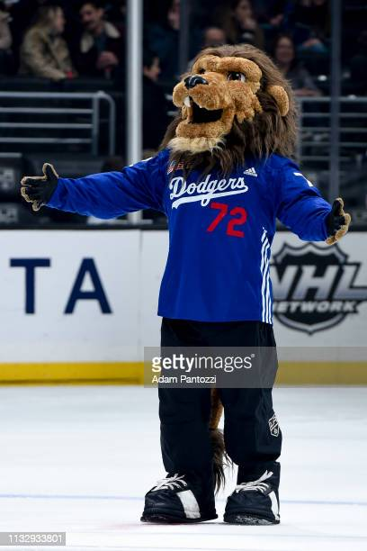 Los Angeles Kings mascot Bailey wears a Los Angeles Dodgers uniform in honor the Kings' Dodgers Night during the game against the Dallas Stars at...