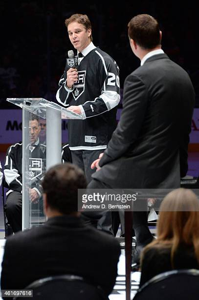 Los Angeles Kings President of Business Operations Luc Robitaille speaks during a Rob Blake's jersey retirement before a game between the Los Angeles...