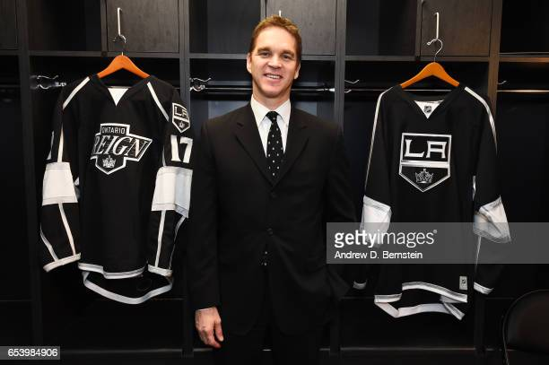 Los Angeles Kings President of Business Operations Luc Robitaille poses for a photo before a game between the Los Angeles Kings and the Arizona...