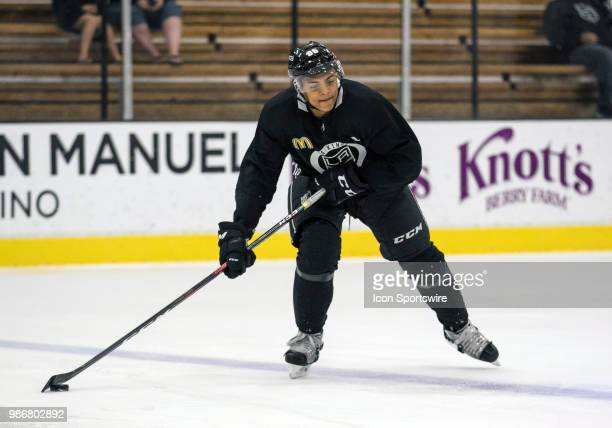 Los Angeles Kings Prospect Forward Akil Thomas participates in a drill during the Los Angeles Kings Development Camp on June 27 2018 at Toyota Sports...