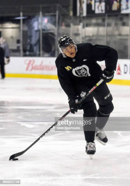 Los Angeles Kings Prospect Forward Akil Thomas prepares to shoot during the Los Angeles Kings Development Camp on June 27 2018 at Toyota Sports...
