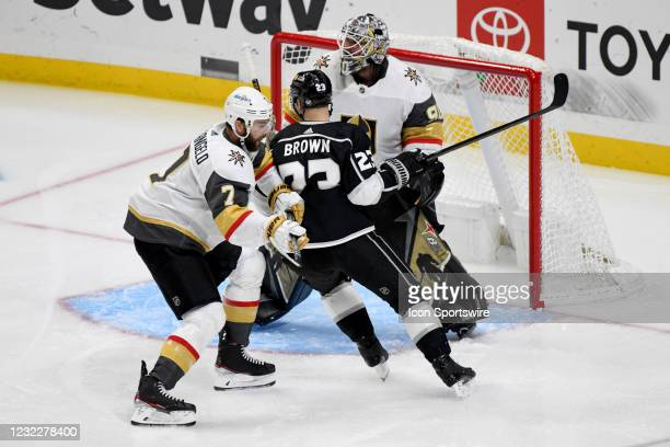 Los Angeles Kings Right Wing Dustin Brown and Vegas Golden Knights Defenceman Alex Pietrangelo battle for position in front of Vegas Golden Knights...