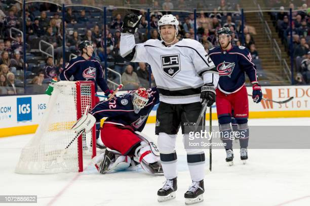 Los Angeles Kings right wing Dustin Brown celebrates after scoring a goal in a game between the Columbus Blue Jackets and the Los Angeles Kings on...