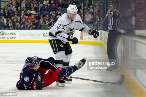 Los Angeles Kings right wing Dustin Brown slams into Columbus Blue Jackets defenseman Seth Jones in a game between the Columbus Blue Jackets and the...