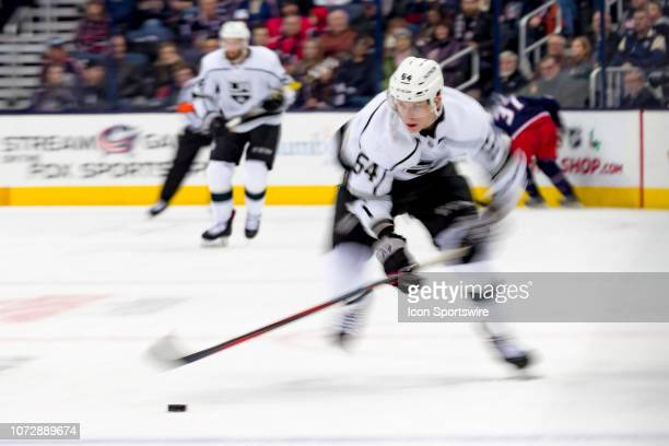 Los Angeles Kings right wing Matt Luff sprints up the ice in a game between the Columbus Blue Jackets and the Los Angeles Kings on December 13 2018...