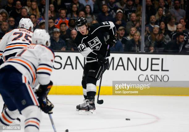Los Angeles Kings right wing Tyler Toffoli makes a pass past Edmonton Oilers defenceman Darnell Nurse during the game on February 07 at the Staples...