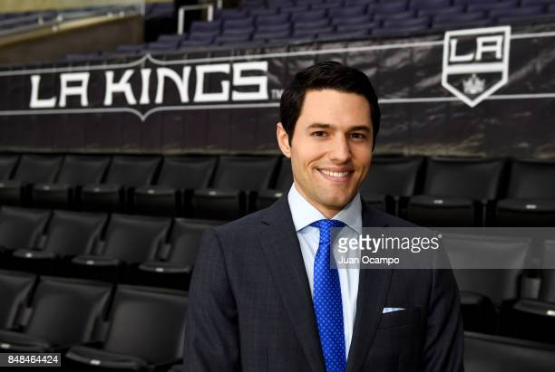Los Angeles Kings TV PlaybyPlay Announcer Alex Faust poses for a portrait before a game between the Los Angeles Kings and the Vancouver Canucks at...