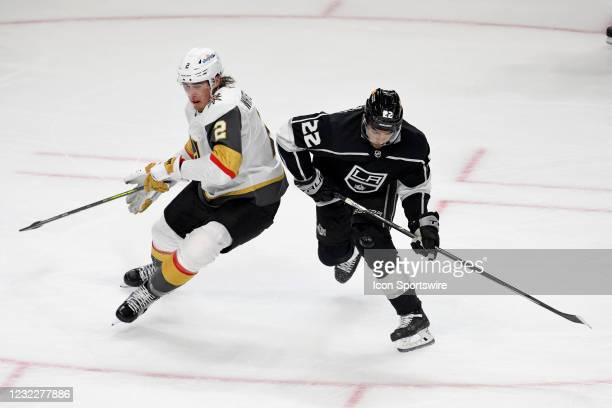 Los Angeles Kings Winger Andreas Athanasiou and Vegas Golden Knights Defenceman Zach Whitecloud battle for position during an NHL game between the...