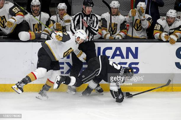 Los Angeles Kings Winger Andreas Athanasiou and Vegas Golden Knights Defenceman Brayden McNabb collide along the boards during an NHL game between...