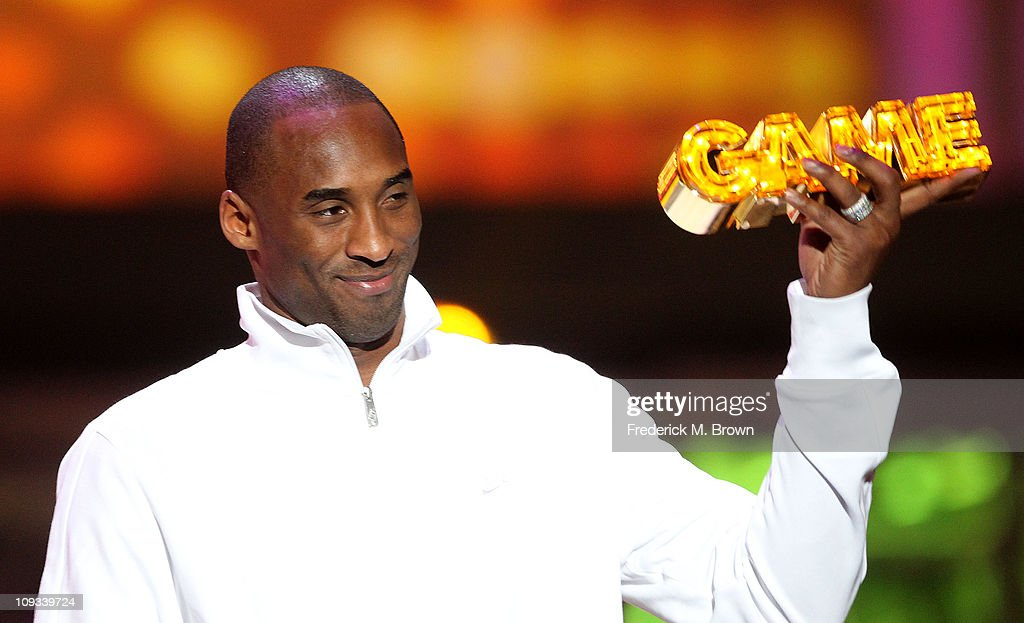 Los Angeles Laker Kobe Bryant speaks during the First Annual Cartoon Network's 'Hall of Game' award show at the Barker Hanger on February 21, 2011 in Santa Monica, California.